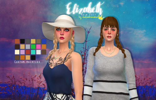 I made this hair edit for Ellie so she can wear more than one style and well, maybe someone else will like it too :).Custom icon on thumbnail.Female Teen, YA, A, Elder.There's 4 basics that have custom hair ties.Hat Compatible.Base Game Compatible.Mesh edit by me. (Longer braids, Bangs).Choose your Download: MediafireFollow my TOU please.Other Sims 4 downloads: #S4CCIf you have any comments or issues write me!Tag me if you want to share the love #inabadromancecc or @inabadromance , i would…