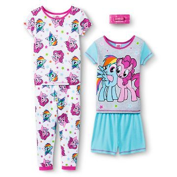 My Little Pony Girls' 4-Piece Pajama Set - Multicolored
