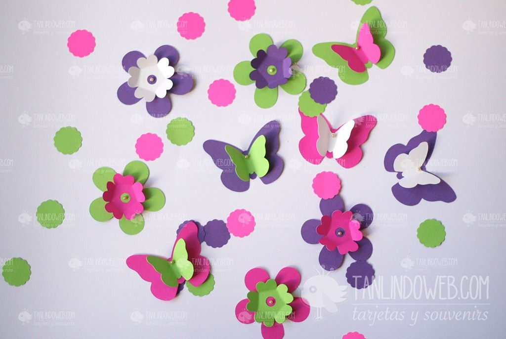 Flores mariposas papel para decorar tu fiesta cumple boda - Decorar con papel ...