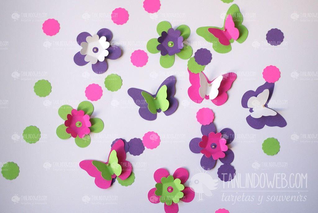 Flores mariposas papel para decorar tu fiesta cumple boda - Decorar paredes infantiles con goma eva ...