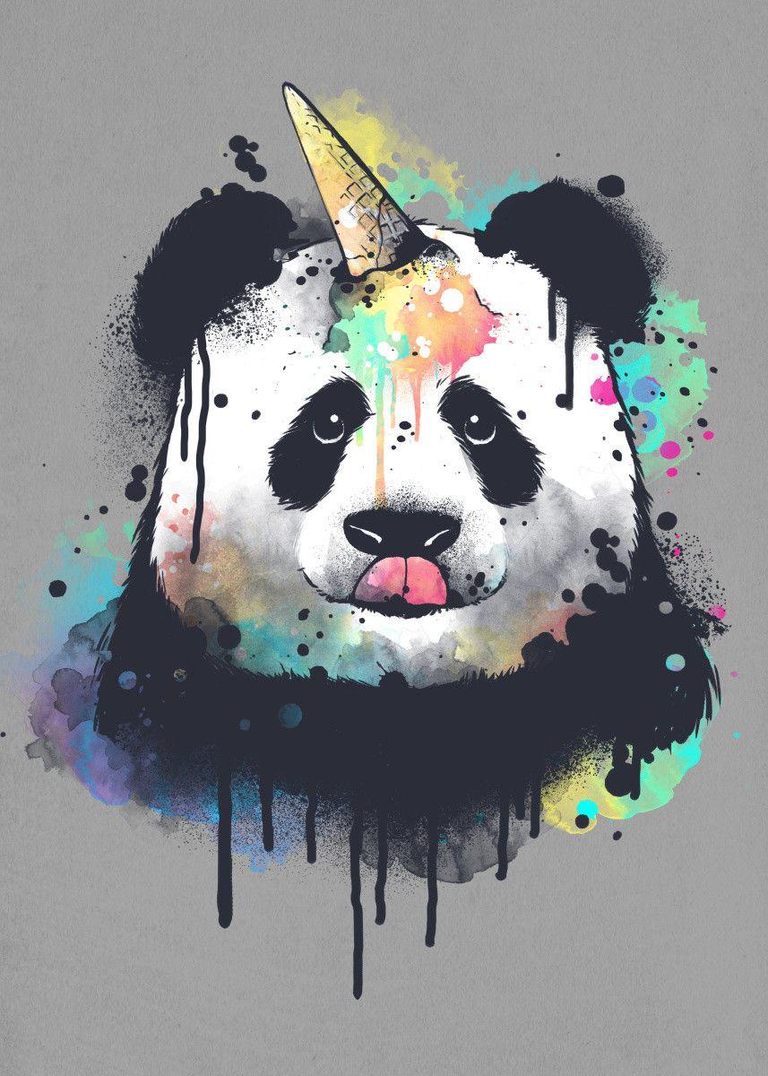 Ice Cream Pandacorn Watercolor Poster Art Print By Nemimakeit Fadda Displate Panda Art Cute Panda Wallpaper Panda Drawing