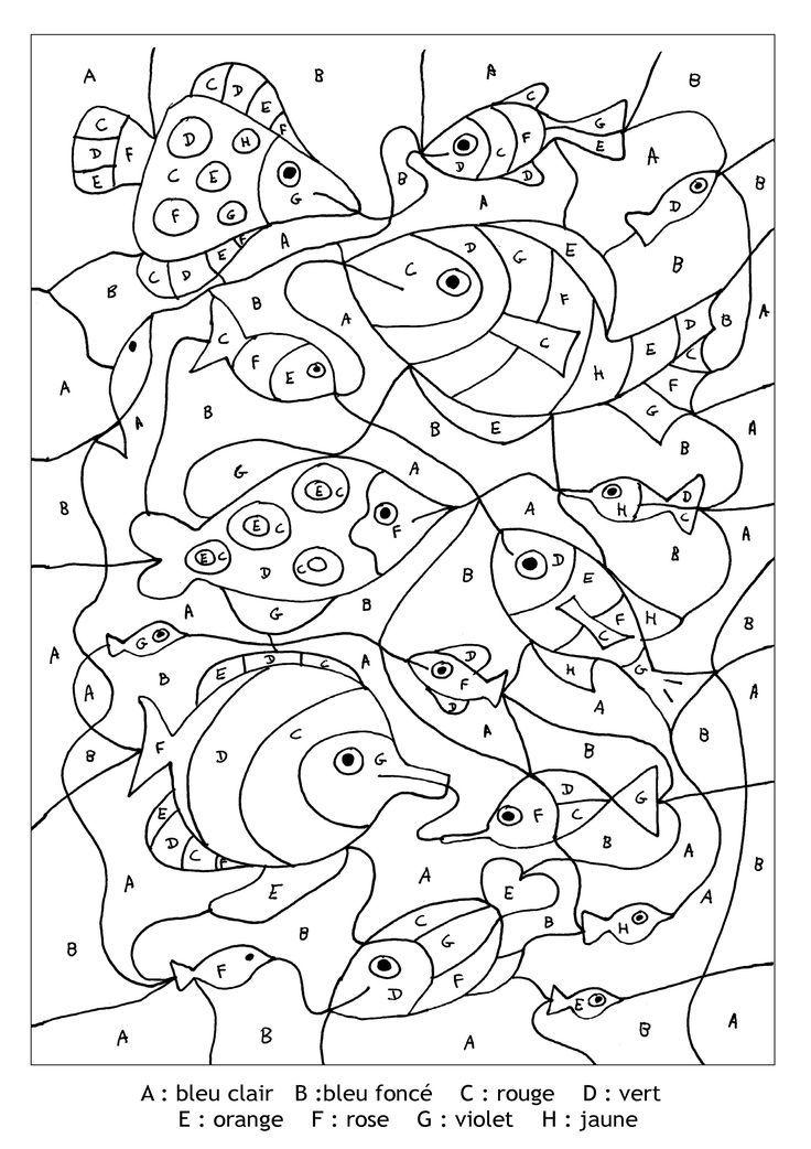 Pour Imprimer Ce Coloriage Gratuit Coloriage Magique Lettres Poissons Cliquez Sur L Icone Impr Malen Nach Zahlen Kinder Malen Nach Zahlen Kunst Unterrichten