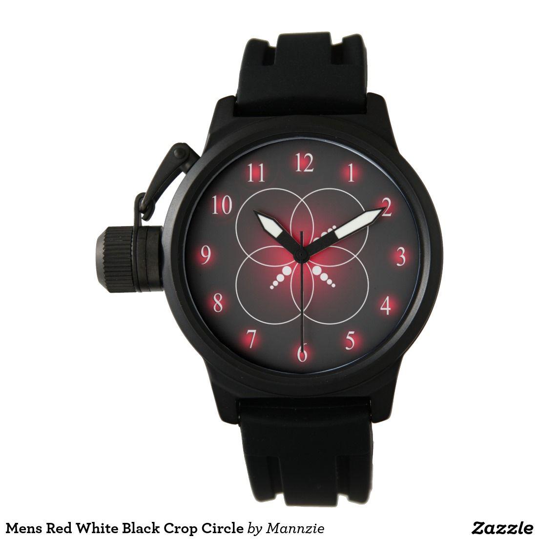 Mens Red White Black Crop Circle Wristwatch