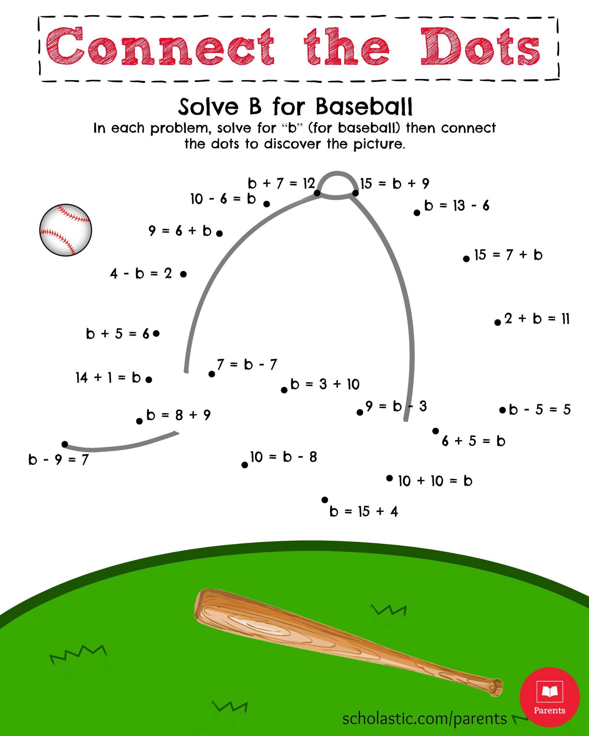 Baseball Math Worksheets Help Your Child Solve For B And Then Connect The Dots In Math Printables Math Worksheets Special Education Math [ 2560 x 2048 Pixel ]