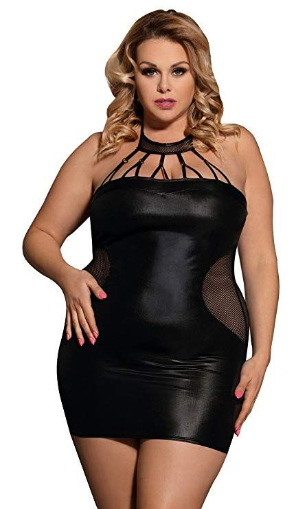 1fc26c5682b ... Soft Decorative Wet Look Babydoll Sexy Lingerie PVC Mini Dress Matching  Thong Set Plus Size UK 8 10 12 14 16 18 20lingerie Women  Amazon.co.uk   Clothing