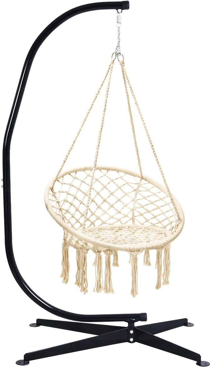 Giantex Hammock Swing Chair With Stand Set Cotton Rope Handwoven Hanging Chair With Solid Steel Hammock Swing Chair Swinging Chair Hanging Chair