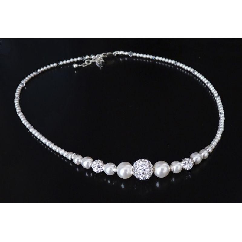 Brautschmuck perlenkette  edle Perlenkette Sterling Silber Brautschmuck | Bridal necklace ...