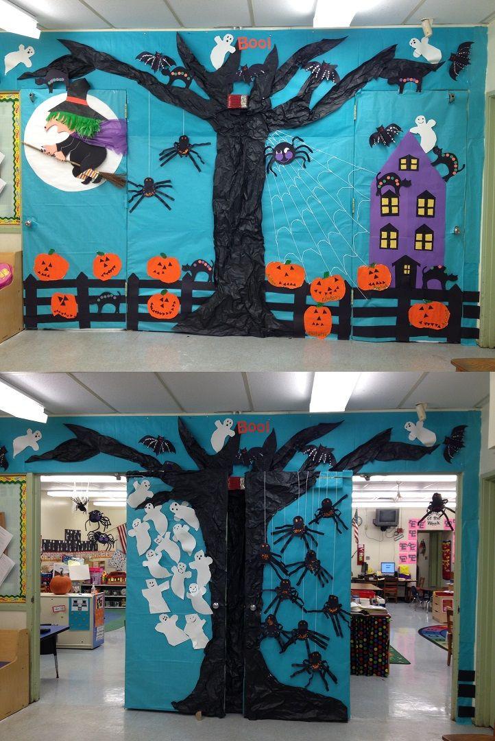 Halloween Themed Door Made In Collaboration With The Kids Halloween Classroom Decorations Halloween Door Decorations Classroom Halloween Classroom Door Decor