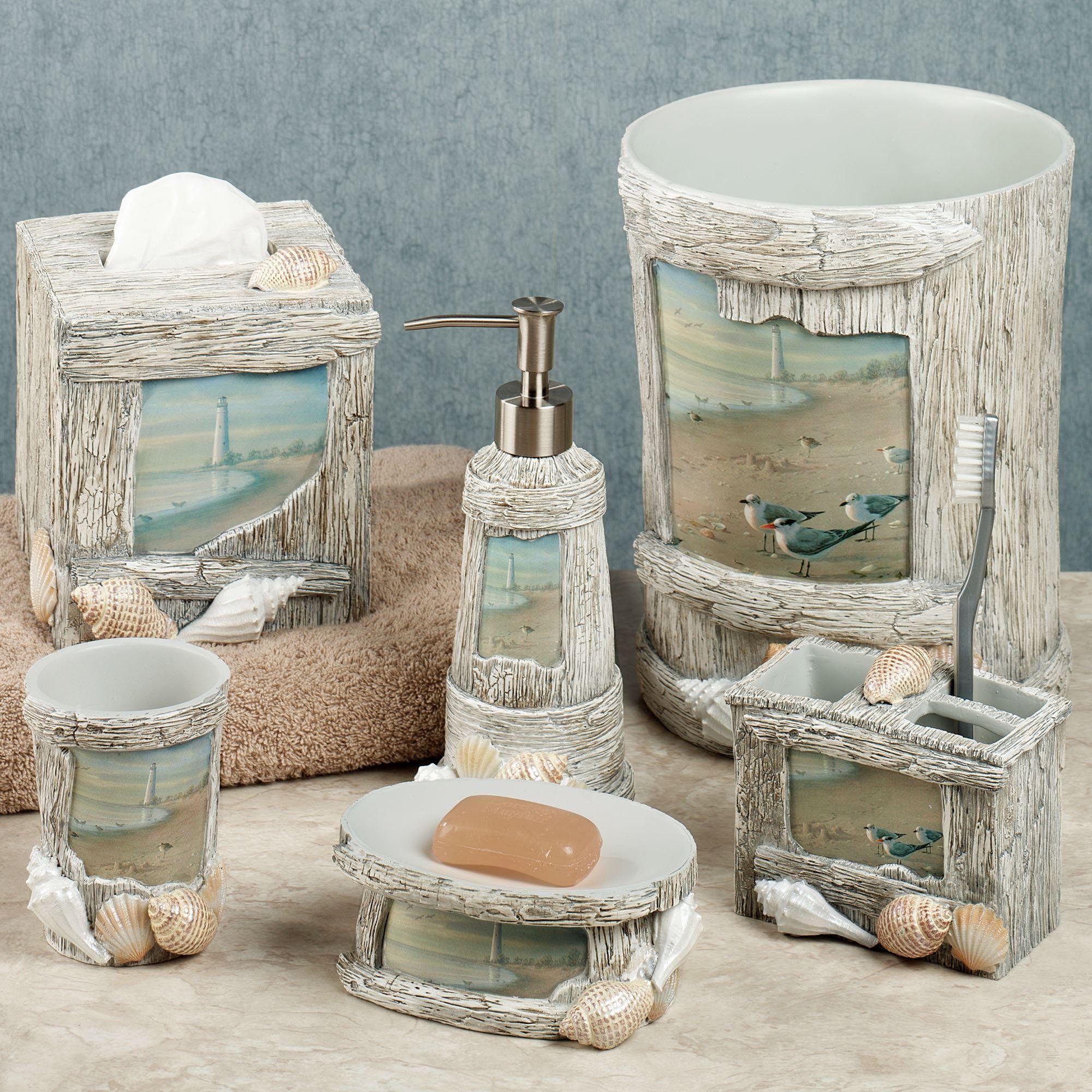At The Beach Bath Accessories Seashell Bathroom Decor Beach
