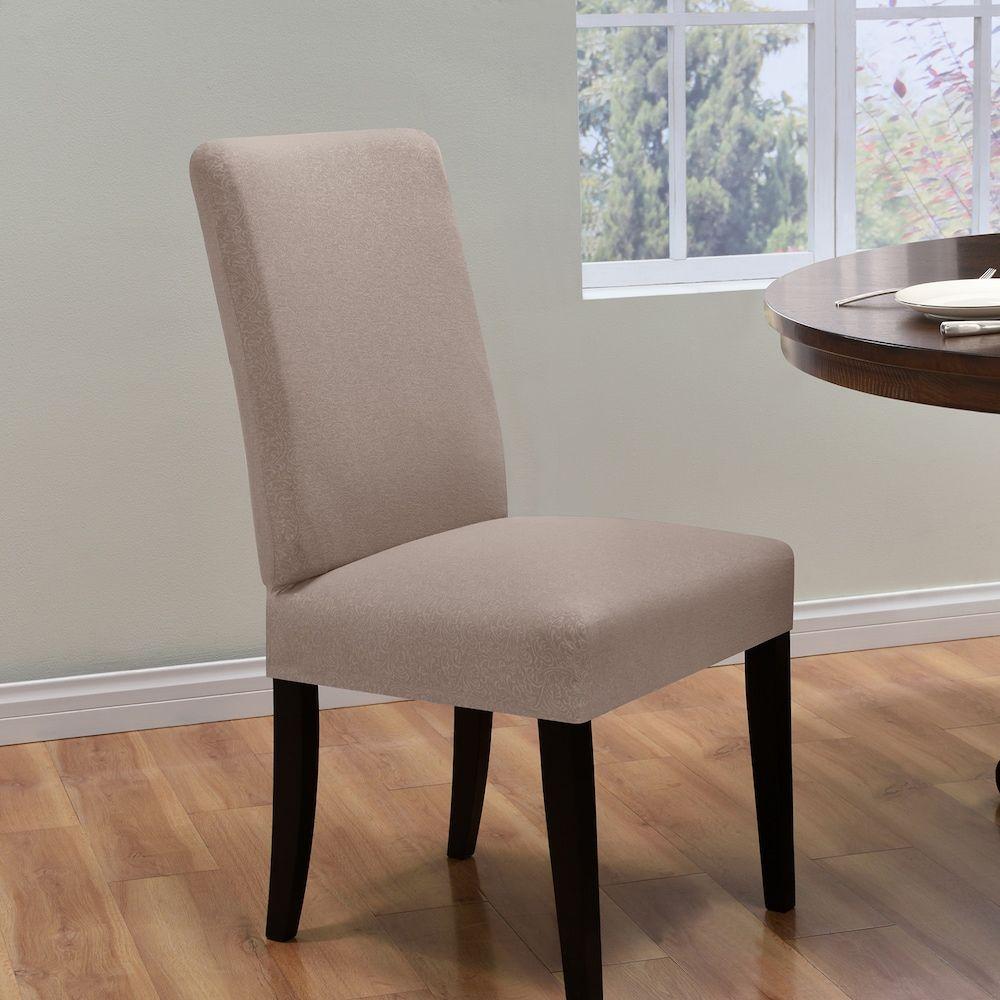 Kathy Ireland Ingenue Dining Room Chair Slipcover Lt Beige