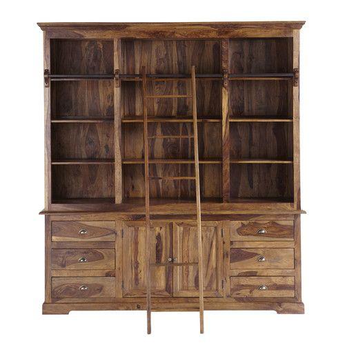 Bibliothèque avec échelle en bois de sheesham massif L 210 cm - Meuble Bibliotheque Maison Du Monde