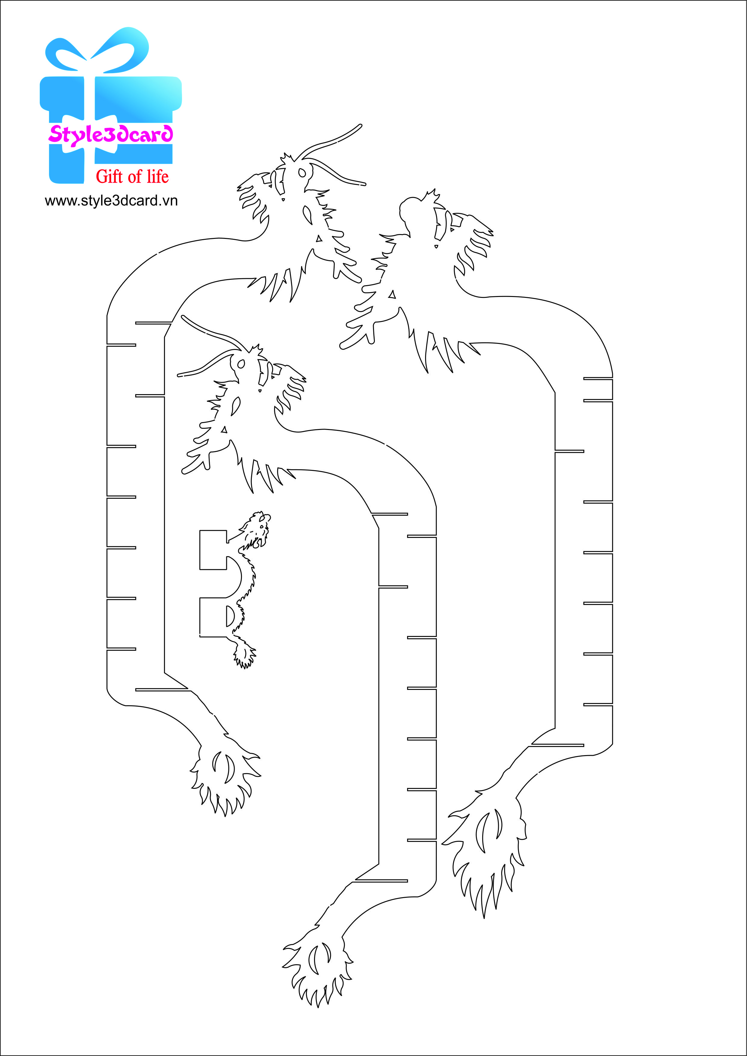 Dragon Boat Pattern 3 Pop Up Card Templates Kirigami Patterns Pop Up Cards