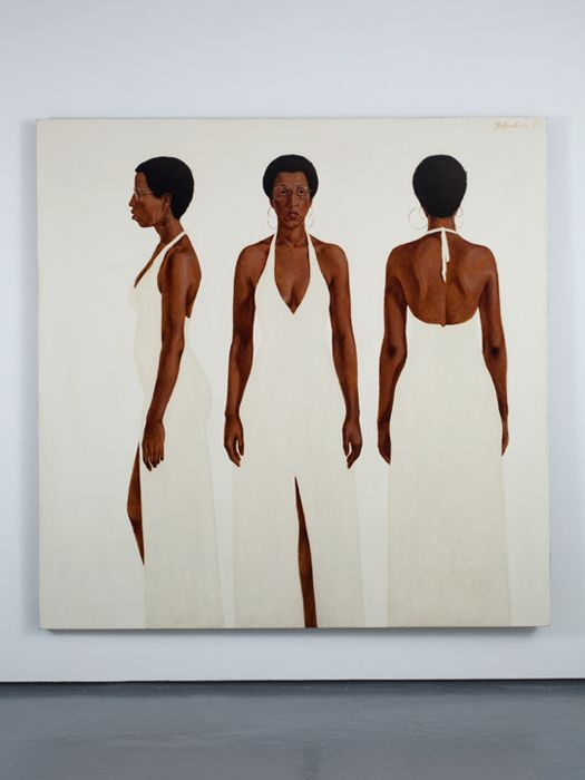 Barkley L. Hendricks  Octobers Gone...Goodnight, 1973,  oil, acrylic, and magna on linen canvas 72 x 72 inches