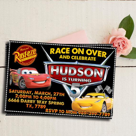 Cars Invitation Chalkboard Lightning McQueen Birthday 3