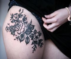 upper thigh tattoos | Upper thigh tattoo. placement