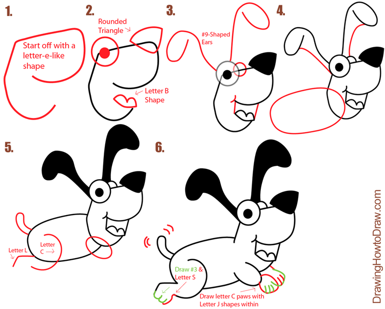 Big Guide To Drawing Cartoon Dogs & Puppies With Basic