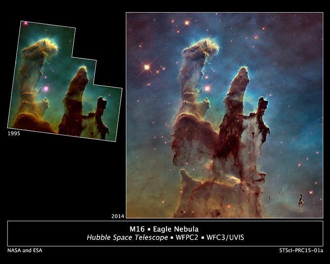 허블 망원경의 발전. 독수리 성운의 창조의 기둥