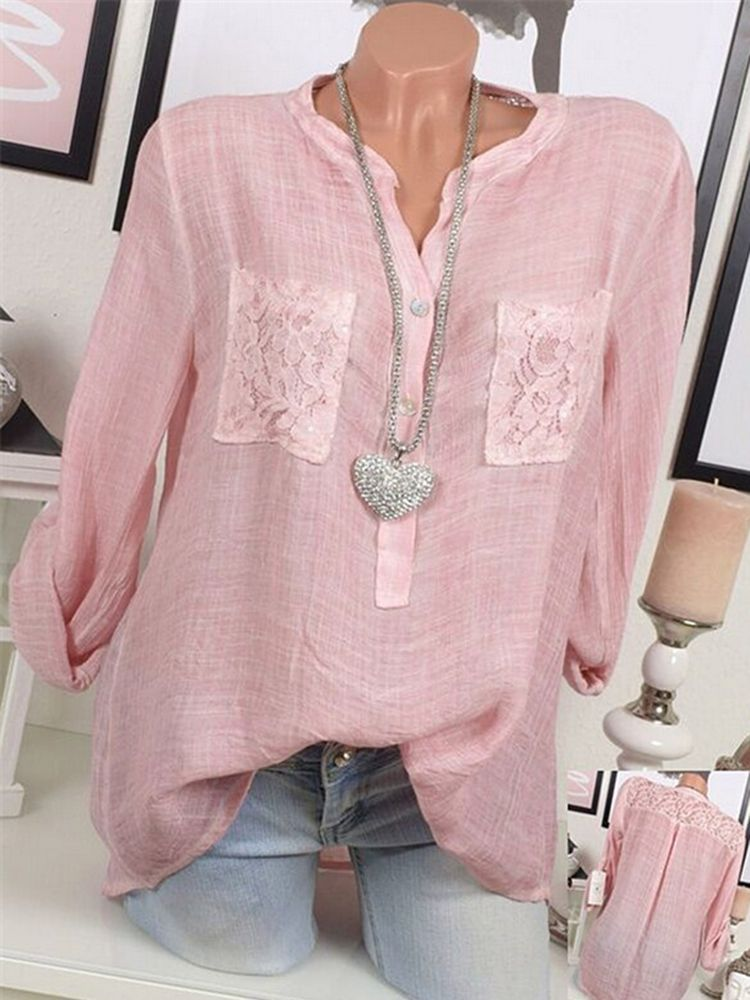 Casual Women V-Neck Lace Patchwork Long Sleeve Blo