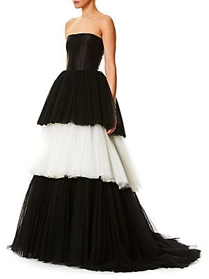 carolina herrera strapless tulle ball gown  tulle ball