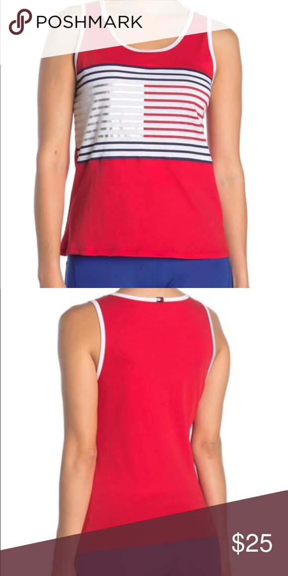 Tommy Hilfiger Red Stripe Logo Tank Top Size M Logo Tanks Tommy Hilfiger Tank Tops