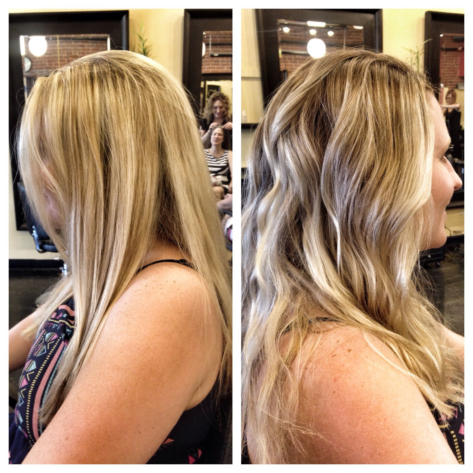 Before and after! A full on blonde to a dark blonde