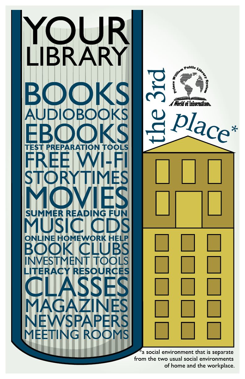 """Library Graphic Design - what can be found at the library.  Part of a """"promote the library"""" possible series."""