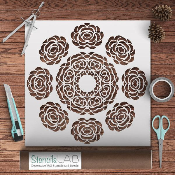 Round Mandala Style Stencil - Mandala Wall Stencils With Flower