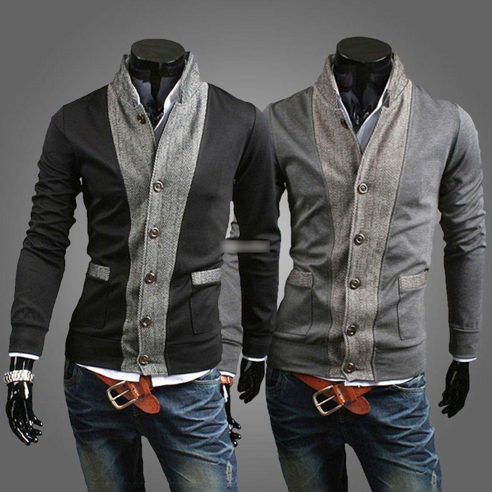 E8 New Fashion Korean Men's Slim Fit Knitwear Sweater Cardigan ...
