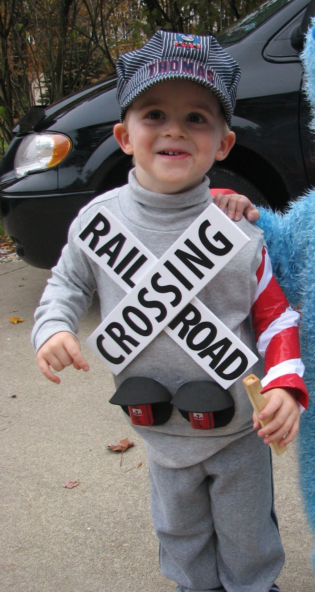 railroad crossing signal costume for my son, complete with working