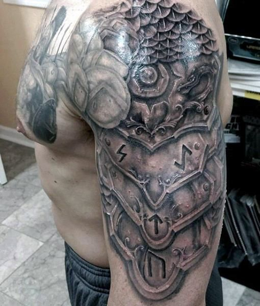 Realistic Shoulder Knight Armor Tattoo For Men Armor Tattoo Shoulder Armor Tattoo Sleeve Tattoos