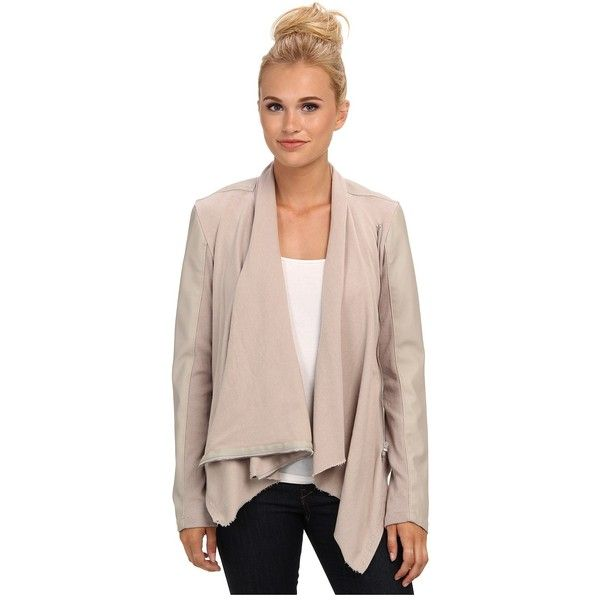 Blank NYC Draped Vegan Leather and Ponte Jacket in Taupe Women's Coat ($98) ❤ liked on Polyvore featuring outerwear, jackets, vegan moto jacket, moto jacket, pink biker jacket, faux leather motorcycle jacket and pink jacket