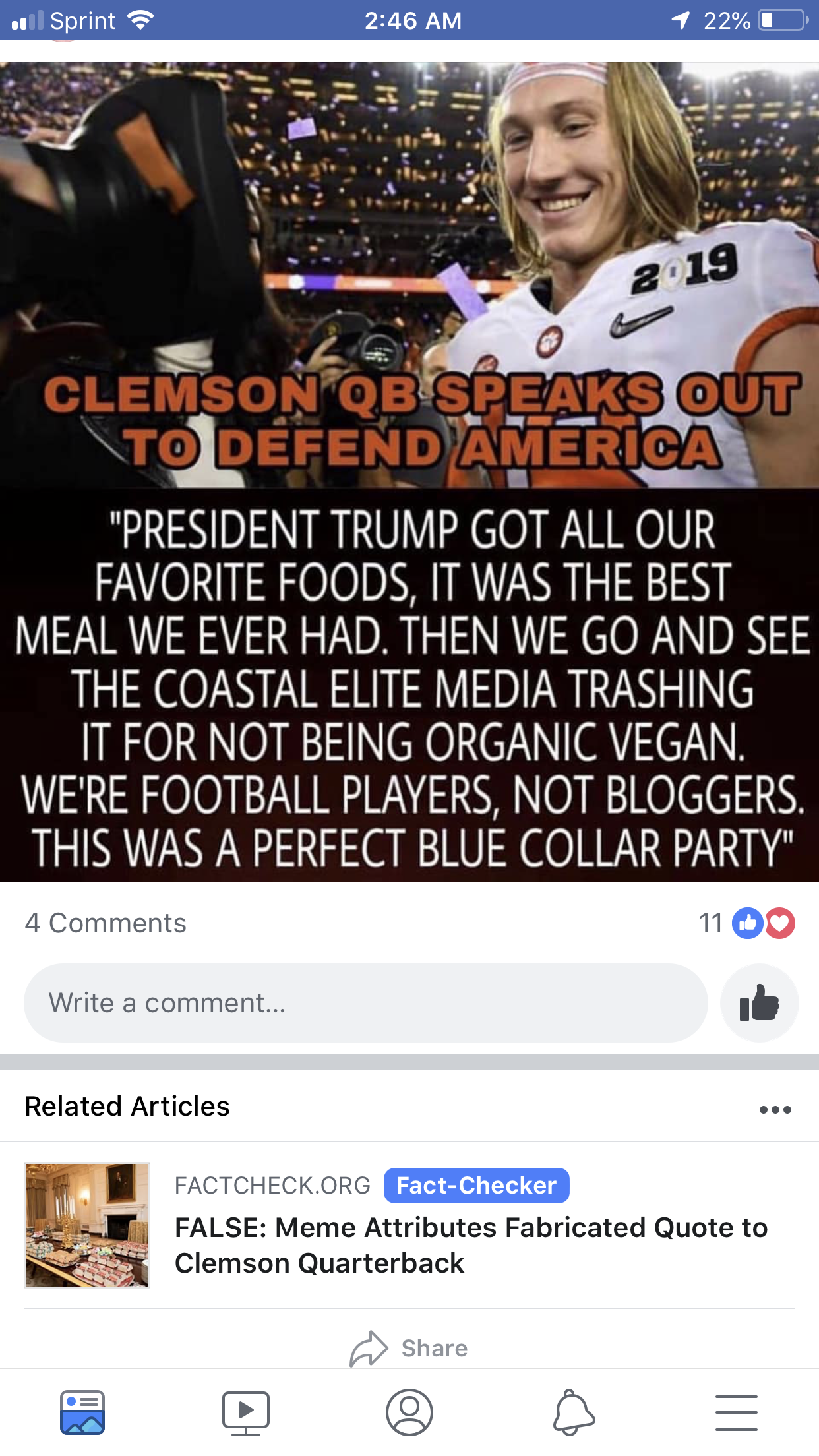 Facebook Is Stepping Up Their Game Fact Checking Memes My Screenshot Organic Vegan Football Players Favorite Recipes
