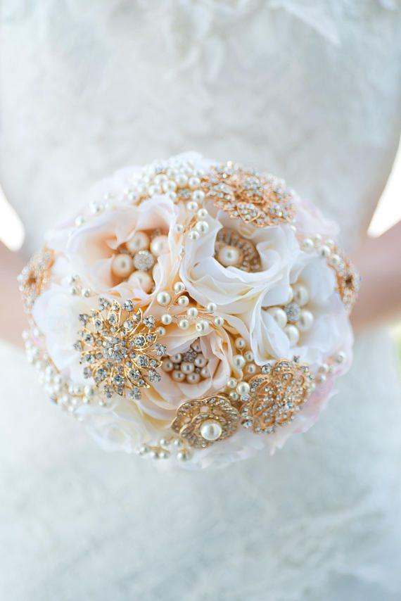 Custom Blush Artificial Flower Bouquet - Rose Gold Brooch Bouquet ...