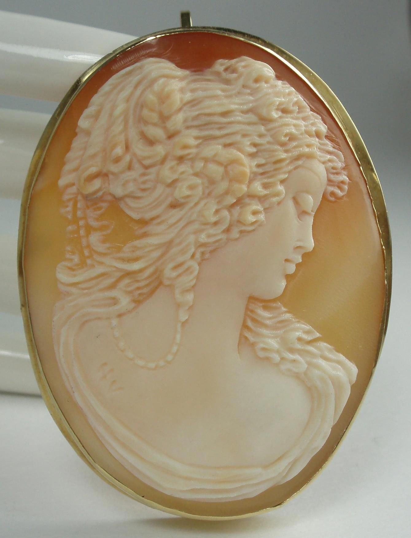 df23acad8 18k Gold Carnelian Shell Cameo Brooch/Pendant Signed #diamondbrooches