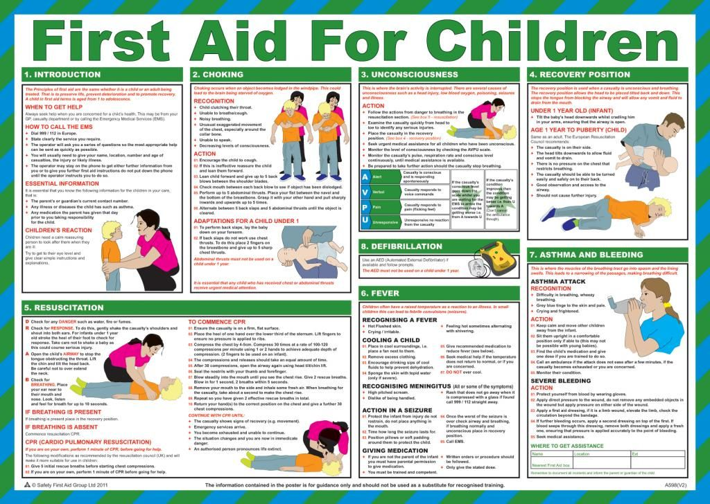 First Aid For Children Poster laminated 59cm X 42cm