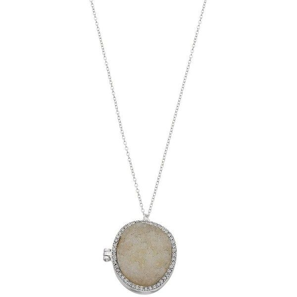 Round Simulated Drusy Locket Necklace ($9) ❤ liked on Polyvore featuring jewelry, necklaces, silver, cable necklace, artificial jewellery, imitation jewellery, silver tone necklace and chain necklaces