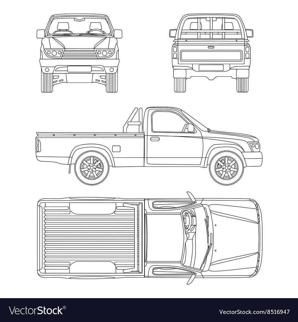 Car Pickup Truck One Cab Royalty Free Vector Image Affiliate