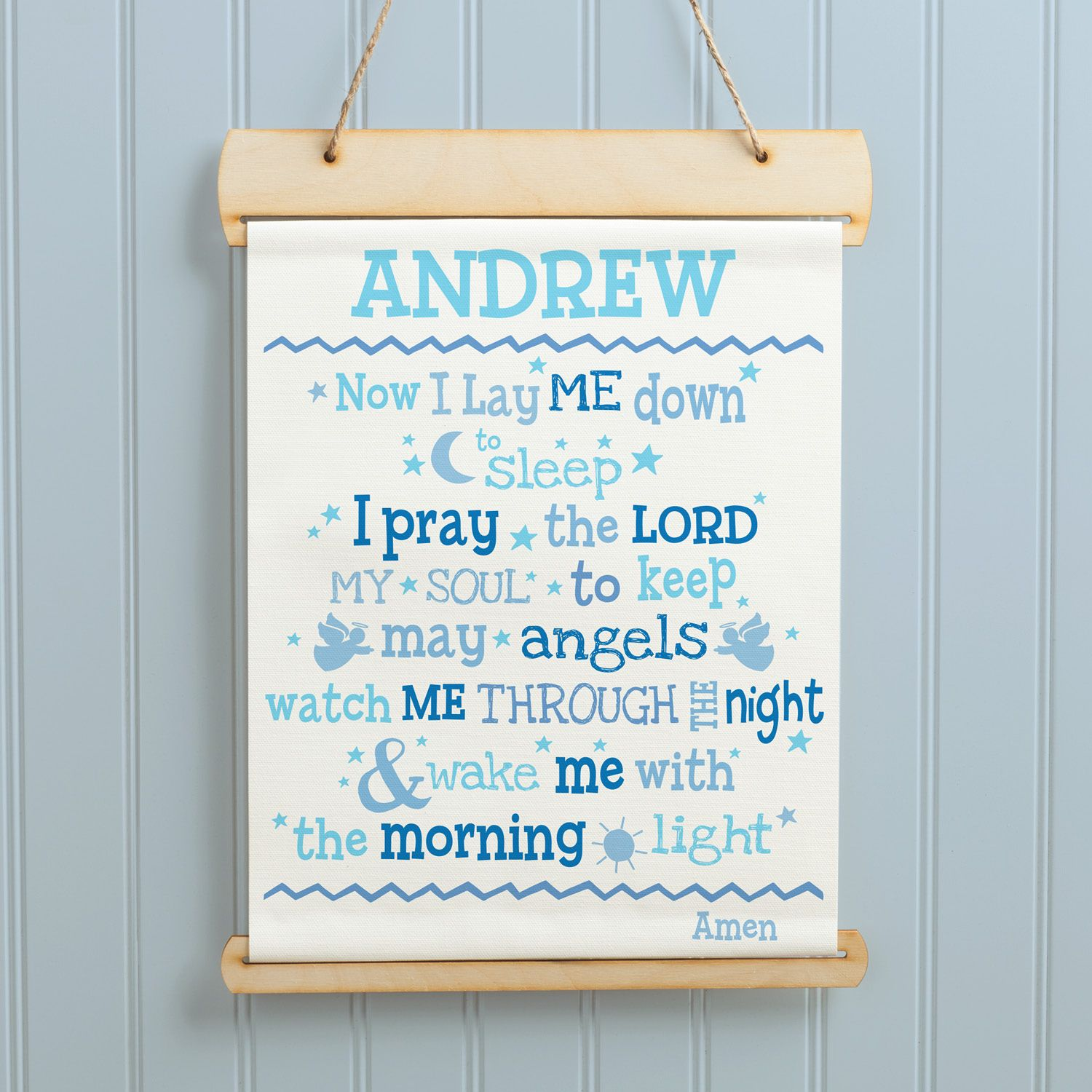 Now I Lay Me Down Blue Personalized Hanging Canvas Banner