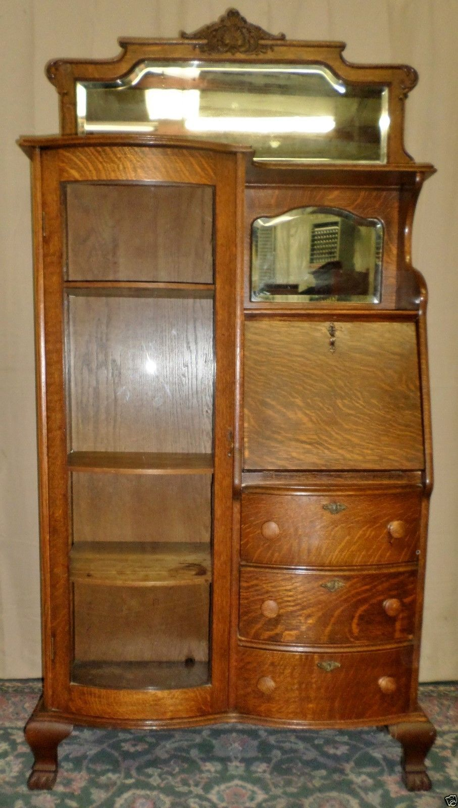 Medium Wood Tone Oak American Antique Furniture | eBay - TIGER OAK DESK SIDE BY SIDE Writing Desk Applied Carving Mirror