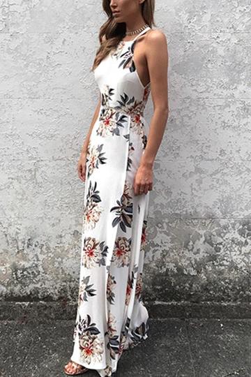 afa510c9837 White Side Split Back Lace-up Random Floral Print Sleeveless Dress from  mobile - US 25.95 -YOINS