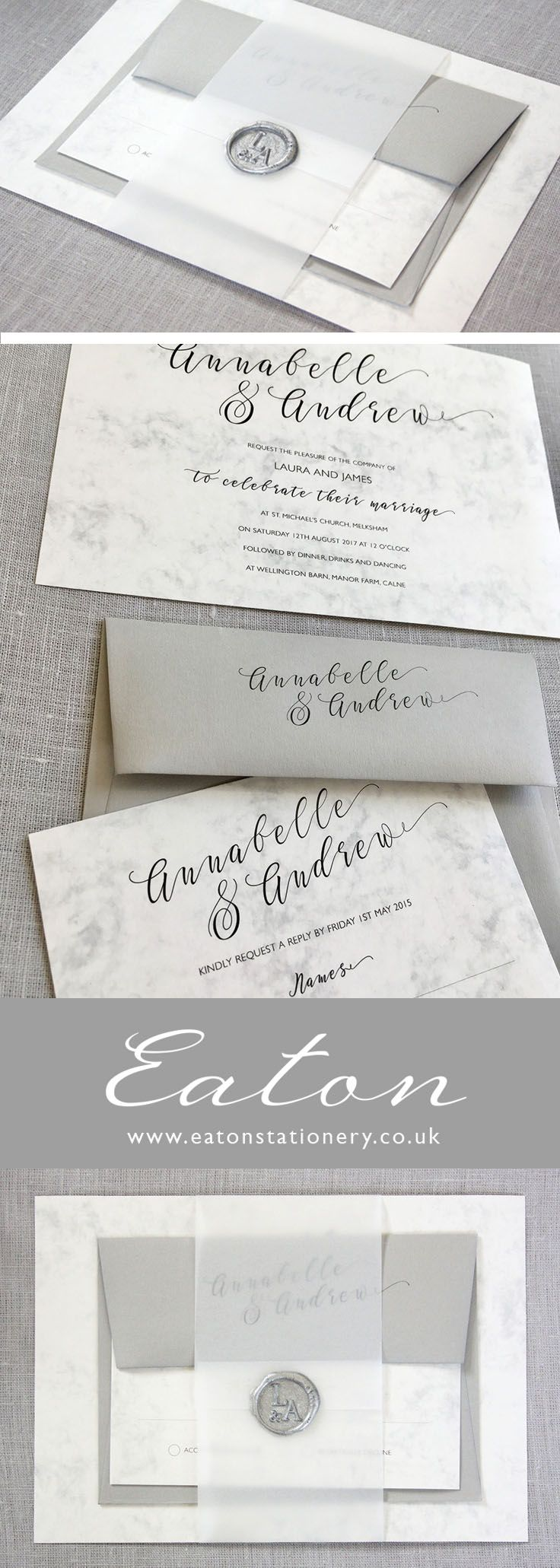 Elegant marble wedding invitation set with vellum belly band and wax ...