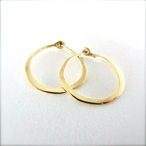 Thick Medium Solid 14k Gold Hoops 3 4 Inch Hand Forged Solid Gold