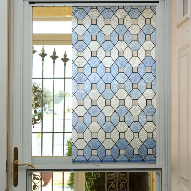 Blue Leaded Glass Privacy Window Film For My Front Door