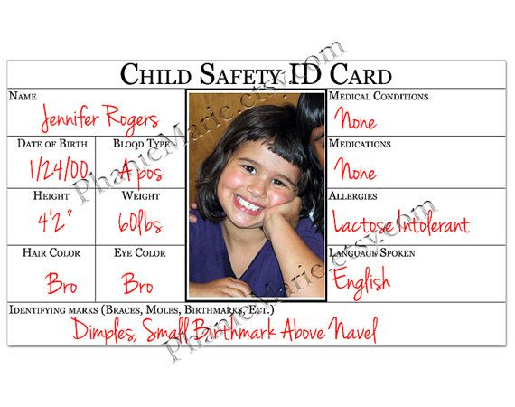 Child Safety Id Card Identification Card Printable Child Safety Id Card Template Card Template