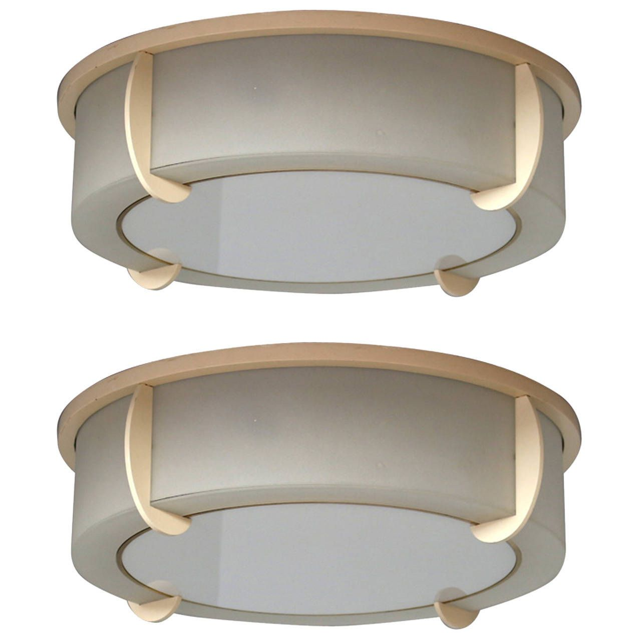 fine french art deco lacquered metal and glass flush mounts by