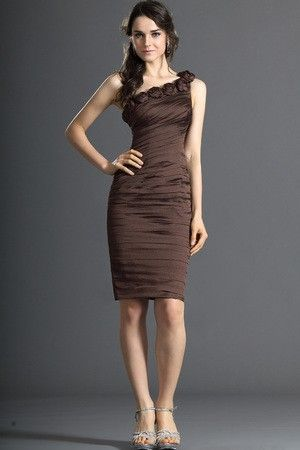 Accented Roset Summer Spring Thin Sheath Sleeveless Misses One Shoulder Zipper Up Cocktail Dress