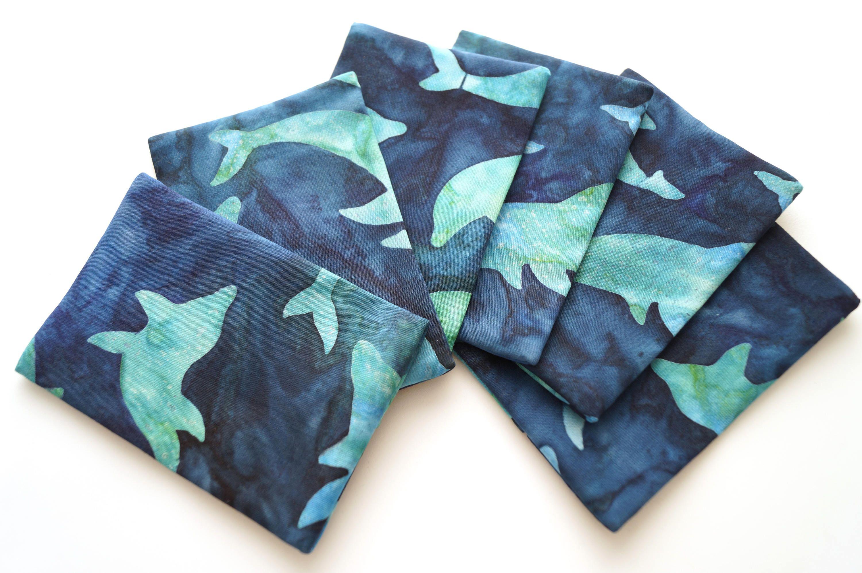 Dolphin Travel Tissue Holder in Blue Batik Fabric