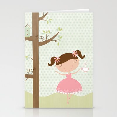Tea Party Girl Stationery Cards by Holly Brooke Jones - $12.00