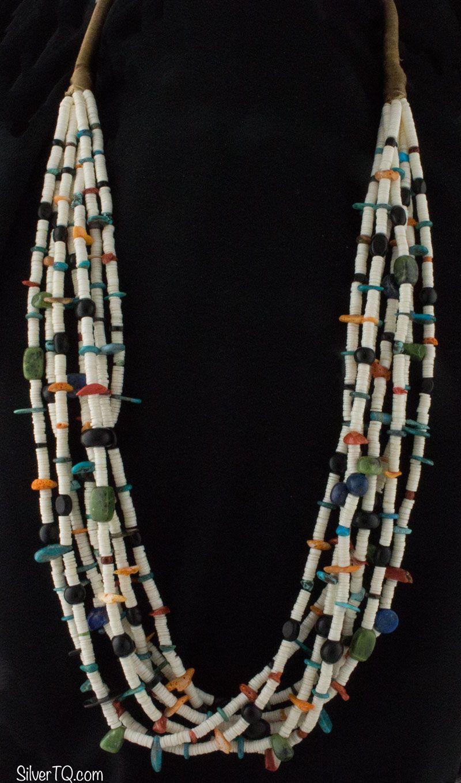 Native American Multi-Colored Heishi Bead Necklace