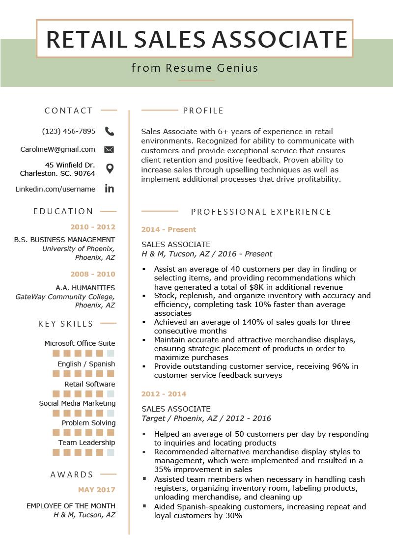 Retail Sales Associate Resume Sample Writing Tips Resume Genius Sales Resume Examples Retail Resume Retail Resume Examples